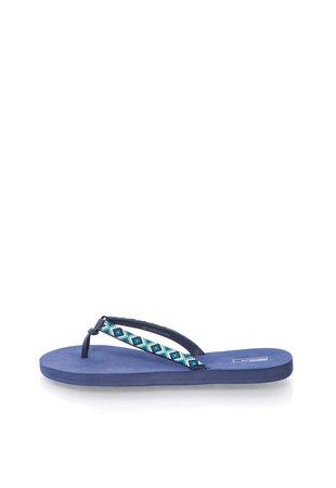 Papuci flip-flop bleumarin cu model etnic