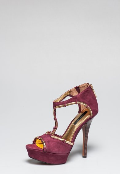 Sandale violet Tyrian din piele intoarsa Debbi de la Rachel Zoe